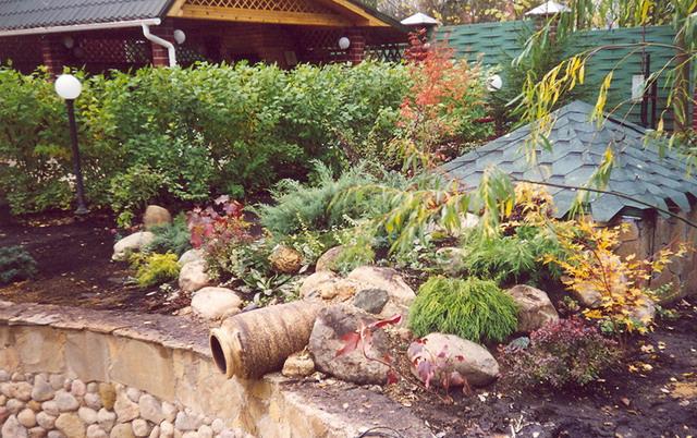 Цветники, альпинарии, газоны, дорожки, садовая мебель, ручьи, водоемы, фонтаны, рокарии и т.д.